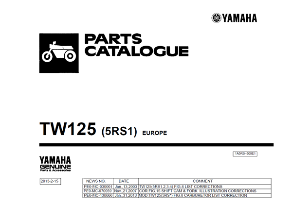 TW125 Parts Catalogue